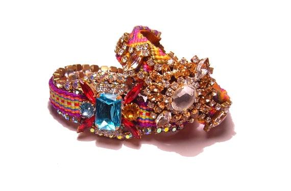 Statement Vintage  Rhinestone Friendship Bracelet - Golden Romance (reserved)