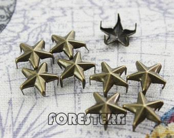 200Pcs 12mm Antique Brass STAR Studs Metal Studs (BS12)