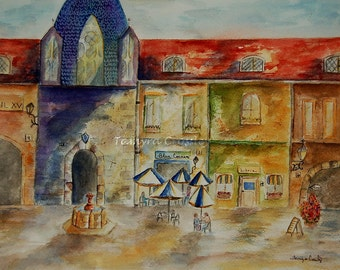 Blue Corner Cafe ORIGINAL Watercolor by Tamyra Crossley.  11 X 14 1/2