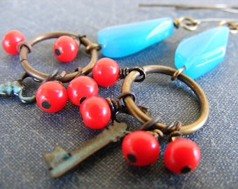 Wander This World Earrings:  Boho Style with Vintage Red Czech Glass and Blue Enameled Keys