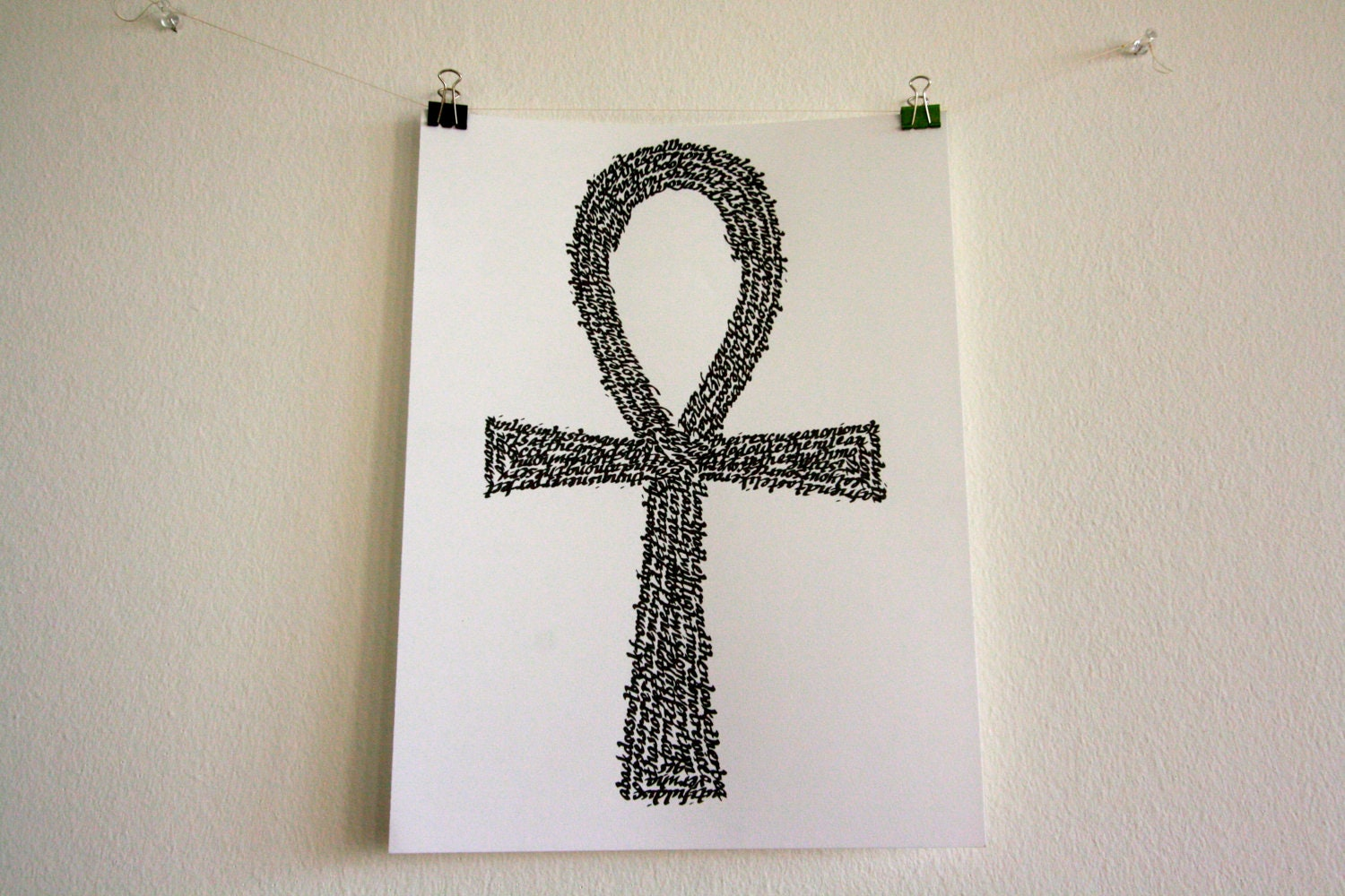 Egyptian key of life ankh in calligraphy by melanmeal on etsy