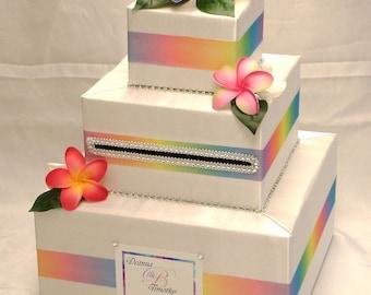 Hawaiian themed Custom Made Wedding Card Box-Plumerias