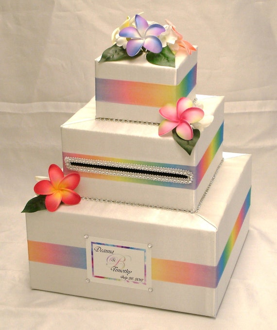 Hawaiian Themed Wedding Ideas: Hawaiian Themed Custom Made Wedding Card Box-Plumerias
