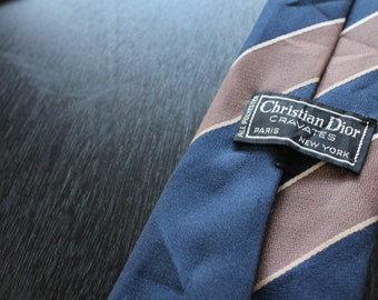 Christian Dior Blue, Brown and White Designer tie,  Free shipping inside the US