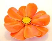 Vintage Enameled Flower Brooch - Orange 1950's