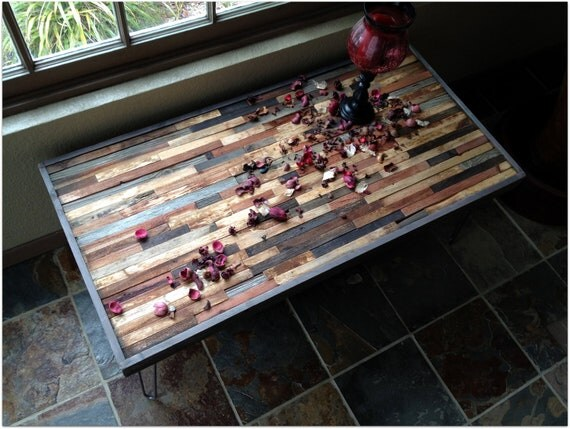 25 % OFF Sale - Coffee Table - Reclaimed Rustic Wood with Vintage Eames Style Steel Hairpin Legs in a Mosaic Pattern