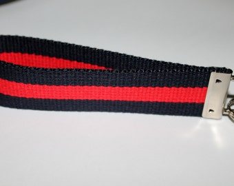 Preppy Key Fob Navy and Red Webbing