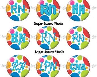 Instant Download  Bright Polka  Dots  RN, LPN, & CNA 1inch Circle Bottlecap Images 4x6 sheet