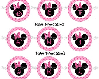 INSTANT DOWNLOAD Mouse Ears Alphabet Numbers  Images 1 inch Circle Bottlecap Images 4x6 sheet