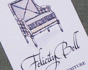 Calling Card Louis XVI Bergere chair Blue, Set of 50