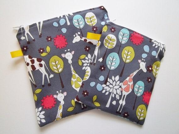 Reusable Snack/Sandwich zippered bags. Giraffe Garden print,Eco friendly set of 2. Ready to ship.