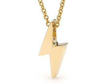 Lightning Bolt Necklace, Small Yellow Gold Lightning Bolt Pendant on a Yellow Gold cable chain