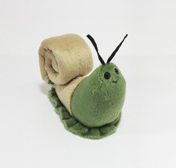 Green Snail Mail - soft plush snail toy