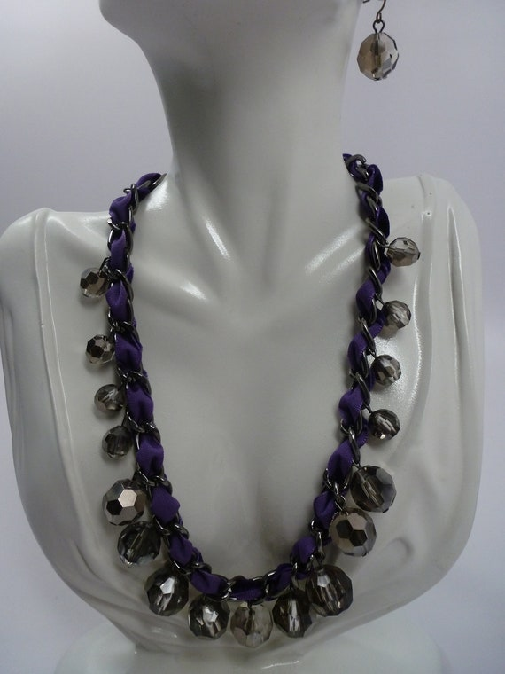 SALE One of a Kind Vintage Gray Transparent Bead Statement  Necklace and Earrings ,  Unique GraY Metallic   Beaded  Necklace