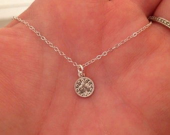 Tiny Coin Necklace in Sterling Silver