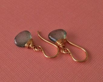 Mystic Green Quartz Gold Earrings -Delicate Green Gem Earrings