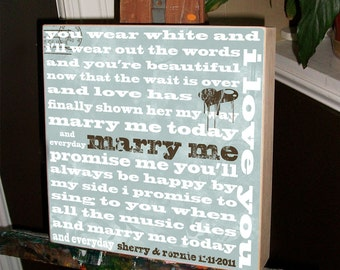 Personalized Wedding Gift / Anniversary Gift / Wedding Vows / Blessing of the Hands / Valentines Day 20 x 20 Birch Hardwood Wall Plaque