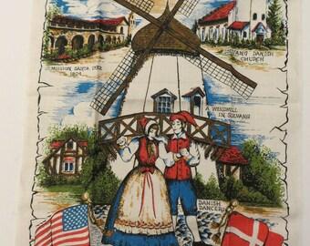 Vintage Towel, Linen Kitchen Towel, Solvang, California, Souvenir Towel, Danish Theme, Tea Towel, Windmill, Dancers, Unused, Signed