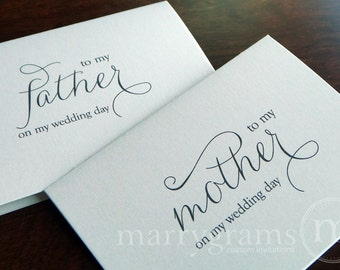Wedding Card to Your Mother and Father - To My Parents of the Bride Groom Cards - Stepmother or Stepfather On My Wedding Day (Set of 2) CS01