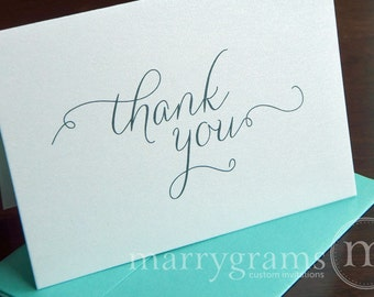 Thank You Cards - Wedding, Bridal Shower or Any Occasion - Fancy Gold, Silver, Green, Red, Purple, Pink, Navy Options