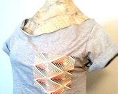 SALE- Geometric Shirt,  Off Shoulder Shirt, Orange & Blue Pattern pocket tshirt (women, teen girl)