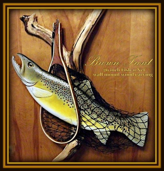 Fly fishing net brown rainbow trout wood carving by for Fly fishing decor
