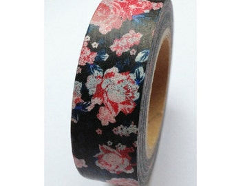 Japanese Washi Masking Tape - Impressionistic Flower - 5.5 yards
