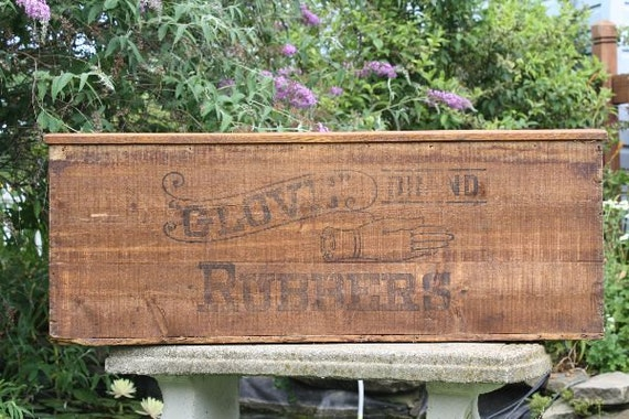 Vintage Wooden Glove Brand Rubbers Advertising Crate / Box Great Graphics  Coffee Table-Toy Box