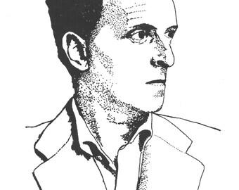 Illustrated Wittgenstein Screen Print Portrait T Shirt