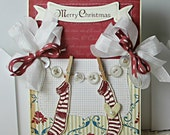 Shabby Chic Christmas Stockings handmade card