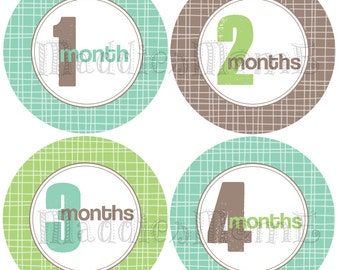 Monthly Baby Boy Stickers Baby Month Stickers, Monthly Bodysuit Sticker, Monthly Stickers Blue Green Gray (Joshua)