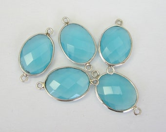 1 Pc - 925 Sterling Silver Bezel Rim,Genuine Faceted Aqua Quartz Connector,Earring,Pendant,Link,Charm,Jewelry Finding C5251