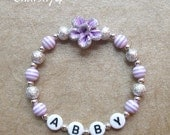 New Baby Child Lavender & Silver Glittery Flower Fimo Personalized Name Bracelet