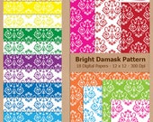Digital Scrapbook Paper Pack - BRIGHT DAMASK PATTERN - Instant Download