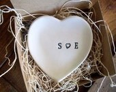 wedding ring holder, ring dish, engagement, anniversary, Heart Shaped,  Black and White Pottery,  Made to Order