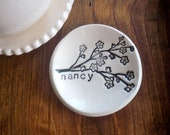 ring holder, ring dish,  custom Monogram Gift, Bridesmaids, Hostess, Black and White, Hand Made Pottery, Made to Order