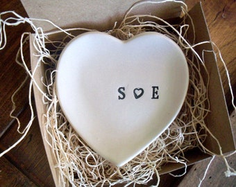 wedding ring holder, ring dish, engagement, anniversary, Heart Shaped,  Black and White Pottery,  Gift Boxed, Made to Order