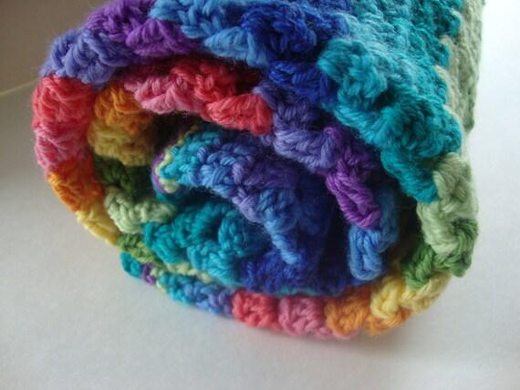 Granny Stripe Rainbow Blanket, All Acrylic Afghan