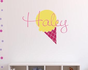 Children's Decor - Ice Cream Cone Monogram Decal - Vinyl Lettering - Great for Nursery or Girl's Bedroom