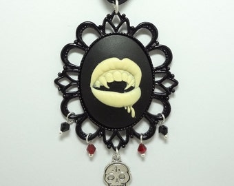 Vampire's Bite Necklace OOAK with Swarovski Crystals, Sugar Skull and Fang Charms - True Blood Inspired On A Black Ribbon
