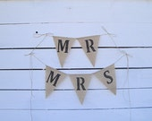 Mr and Mrs burlap chair banners
