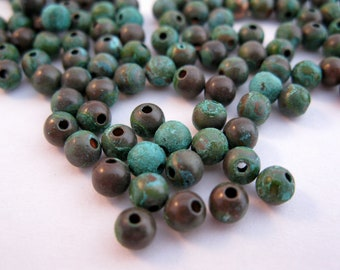 COPPER 4mm ROUND Beads PATINA 25 Pieces, Choice of Finish