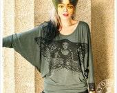 Hunter Green Batwing Shirt one size T shirt oversize moth Handmade clothing