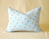 """Vintage Pillow Cover Blue and White Rose Bouquet 12""""x16"""""""