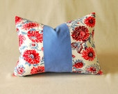 "Watercolor Pillow Cover Vintage Floral and French Blue Color Block 14""x18"""