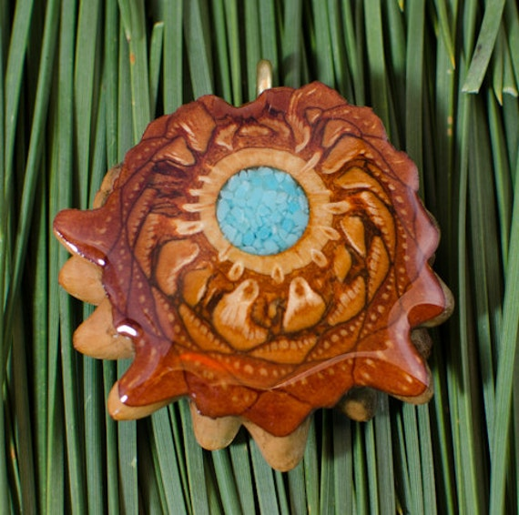 Beautiful TURQUOISE INLAY GLOWS (Med) Third Eye Pinecone Talisman Necklace