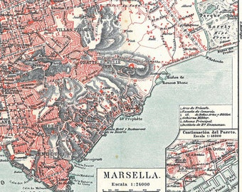 Marseille Vintage City Map France 1920s Street Plan