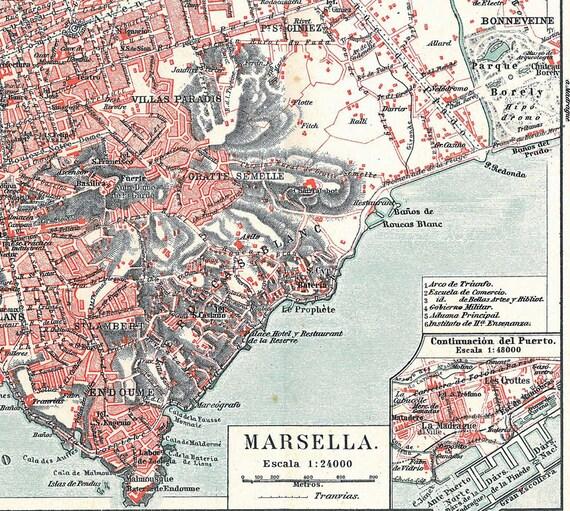 Marseille Vintage City Map France 1920s Street Plan