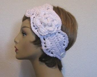 White Crochet Headband with Flower Crochet Head Wrap knit Head Band White Ear Warmer  White earwarmer Crochet earwarmer crochet ear warmer