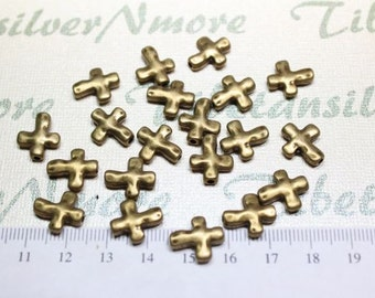 18 pcs per pack 13x11mm Reversible Cross Bead in Antique Bronze Lead free Pewter